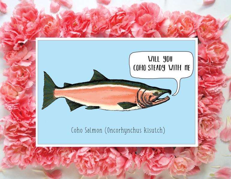 Coho Salmon Card Flowers