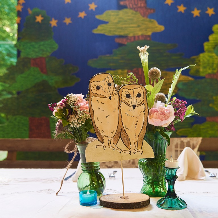 Barn Owl Watercolor Table Decor