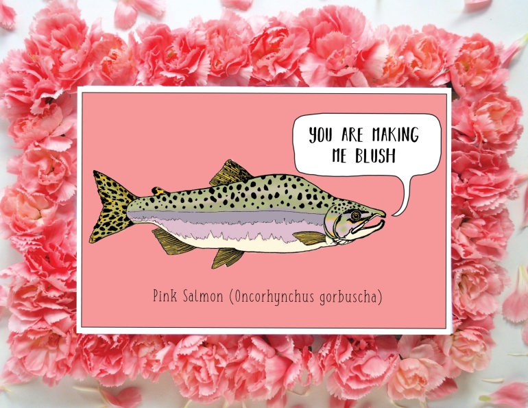 Pink Salmon Card Flowers